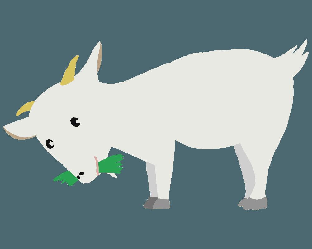 草を食べる食事中のヤギのイラスト