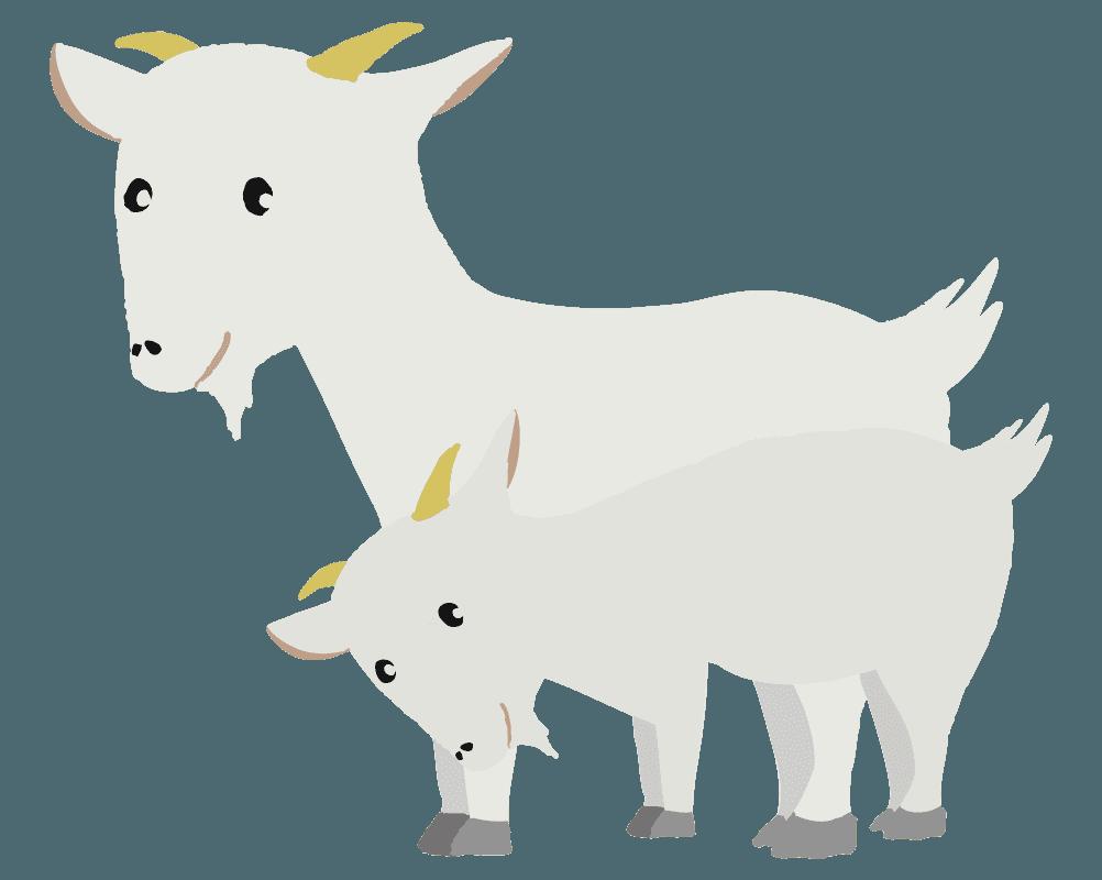 可愛いヤギの親子のイラスト