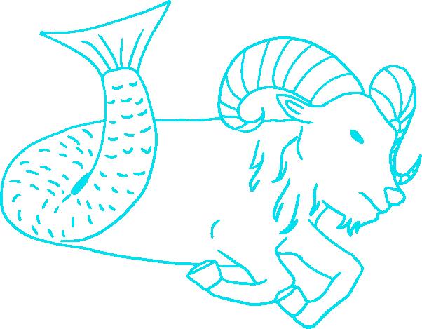 山羊座の線画イラスト
