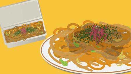 焼きそばイラスト - 屋台と具材のおもしろ料理イラスト