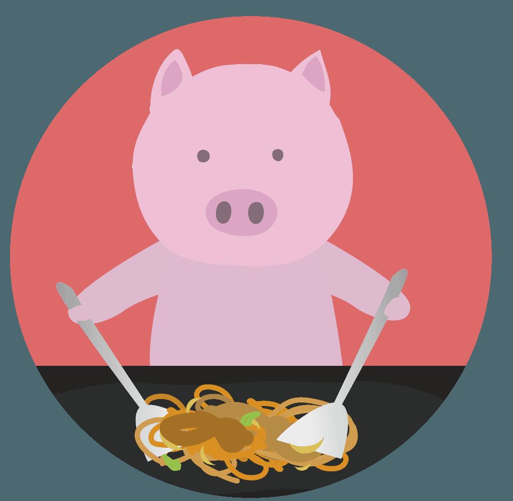 焼きそばを炒める豚のイラスト