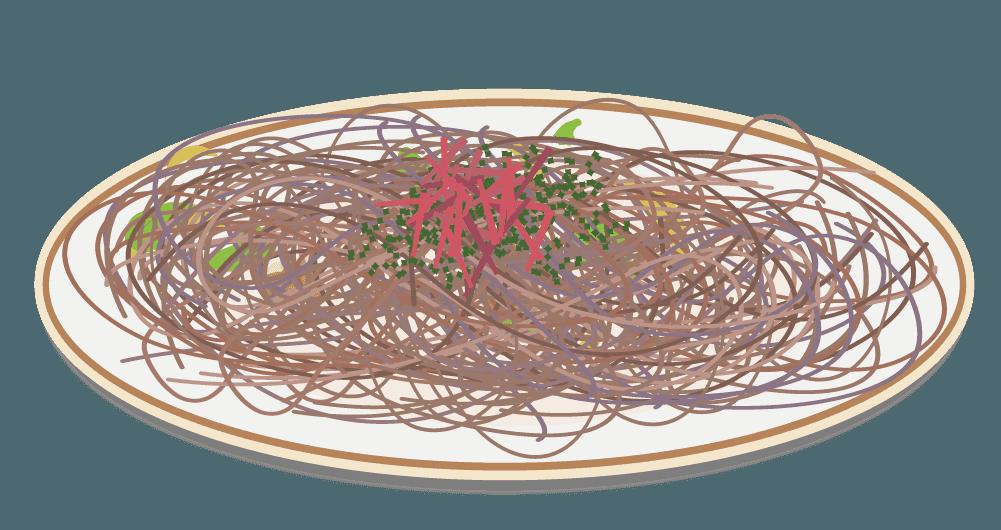 パリパリ麺の焼きそばのイラスト