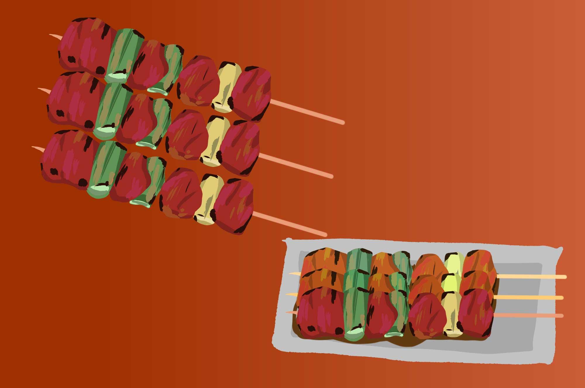 焼き鳥の無料イラスト - 美味しそうな串の食べ物素材