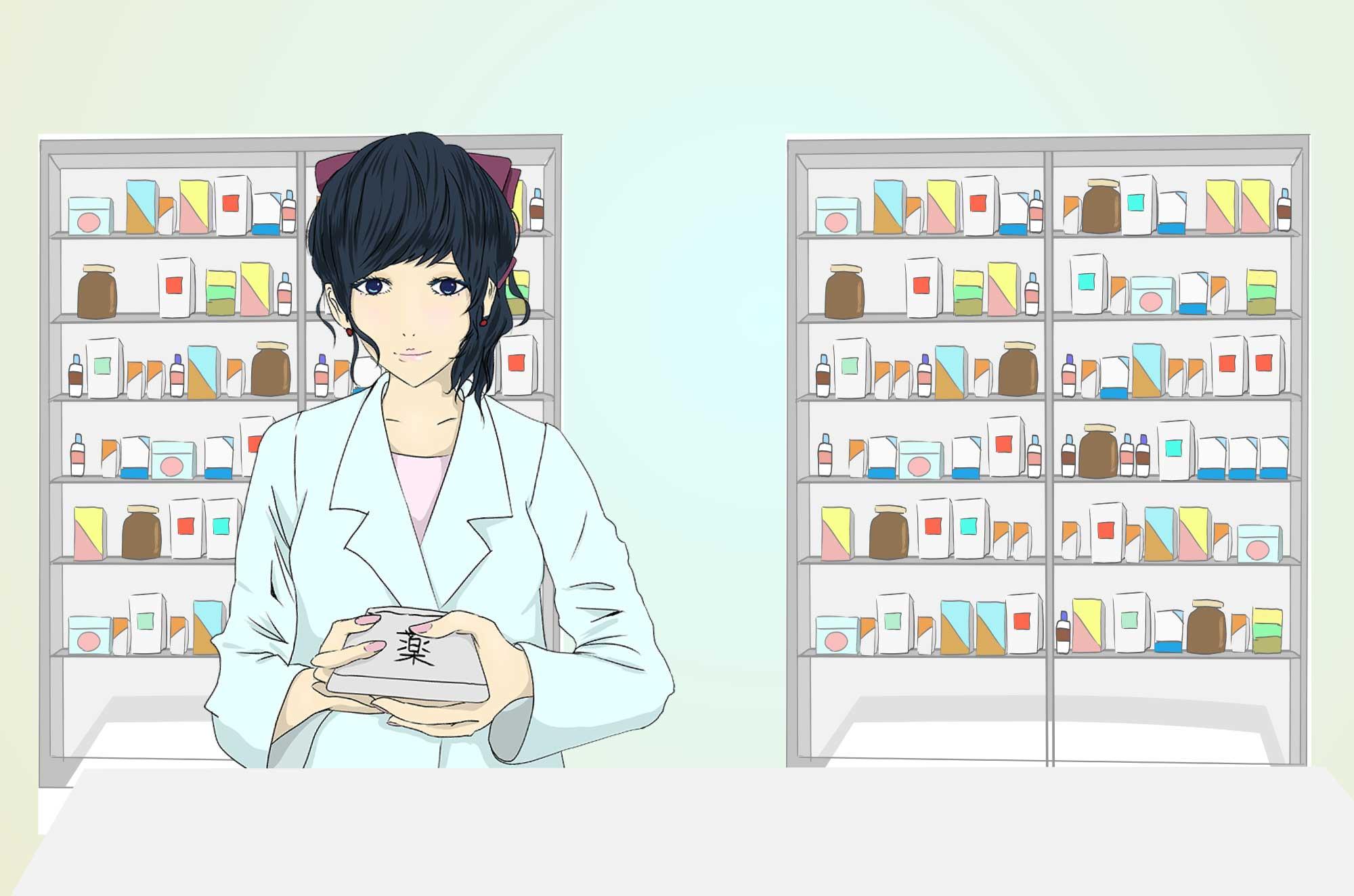 薬剤師のイラスト - 薬を調合する職業の無料素材