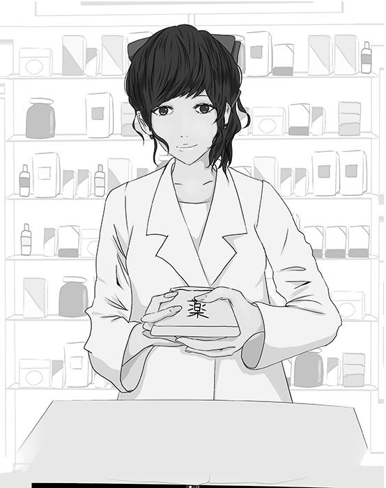 受付で薬を渡す薬剤師のイラスト(白黒)