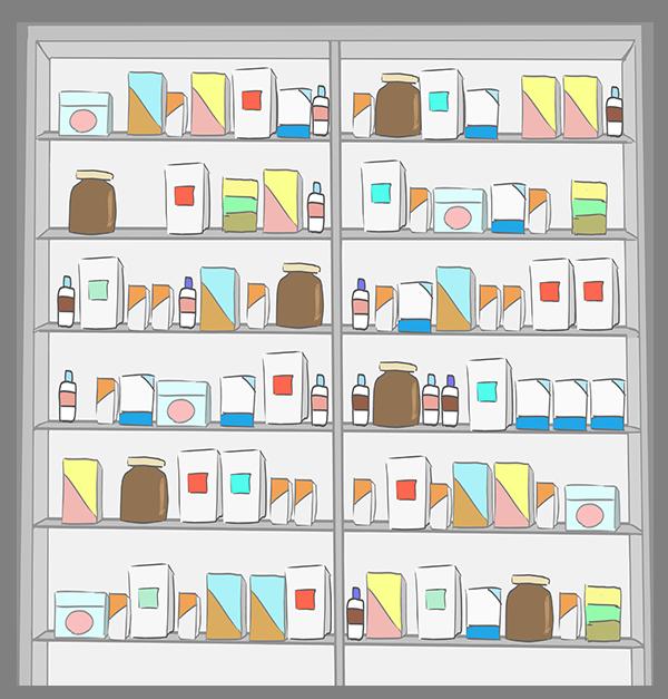 薬の棚のイラスト