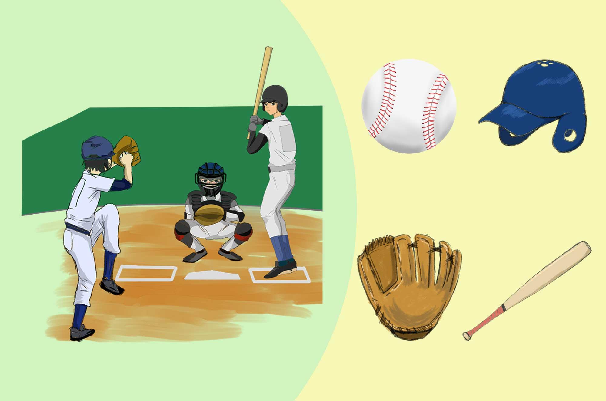 野球の無料イラスト - ピッチャー、バッター道具素材