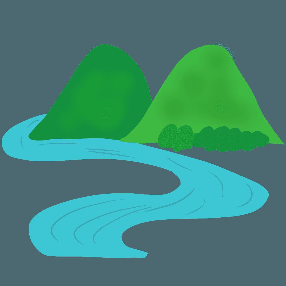 手描きの山と川イラスト