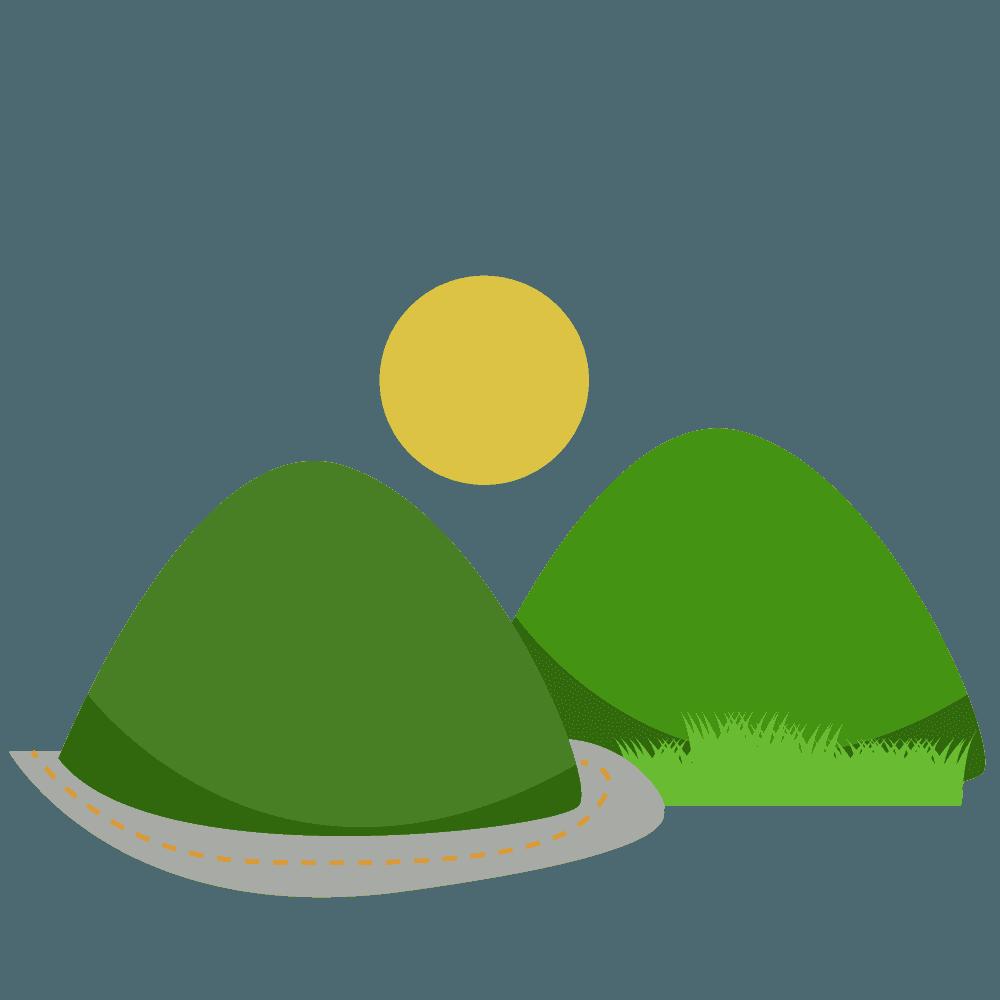 山と太陽と道路のイラスト