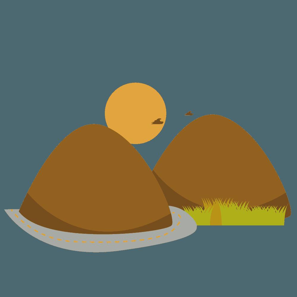 秋の夕暮れと山のイラスト