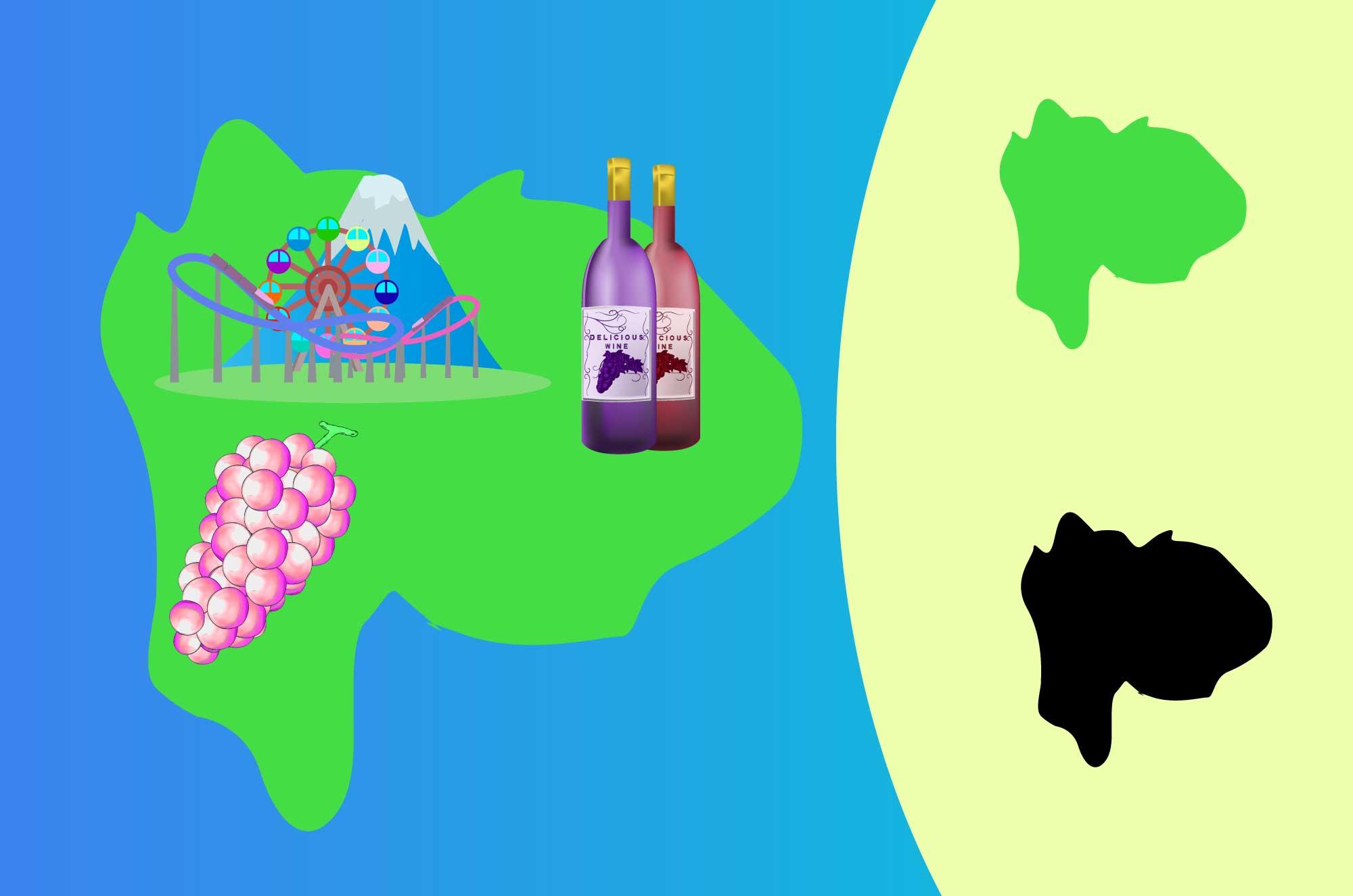 山梨のイラスト - ぶどう・ワイン名産と地図の素材