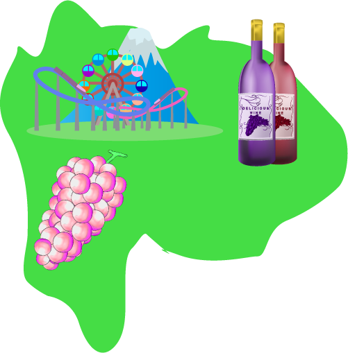 山梨の名産、ぶどう、富士急ハイランドのイメージとワインのイラスト