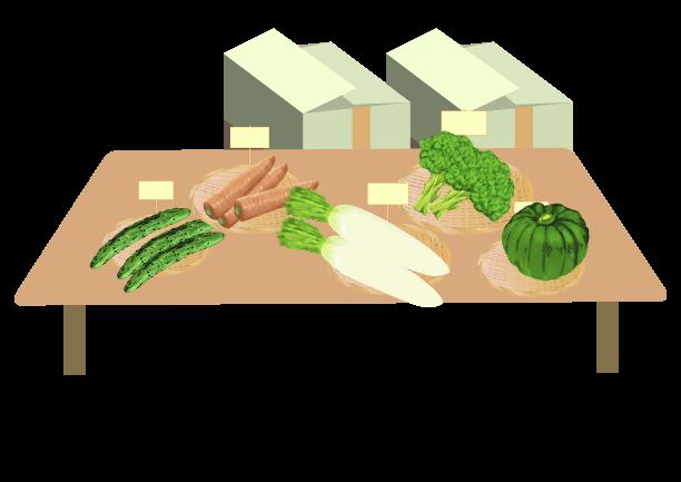 店頭に並ぶ野菜のイラスト2