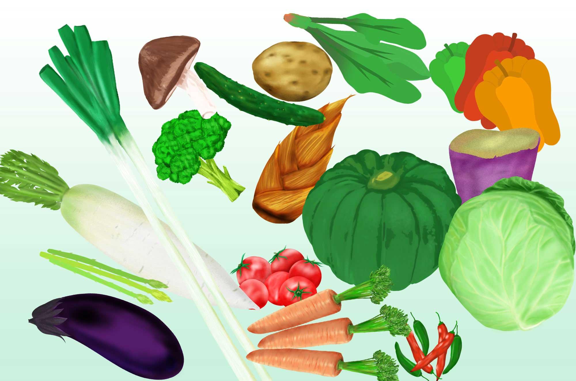 野菜イラスト - フリーの手描きの可愛い無料素材 - チコデザ