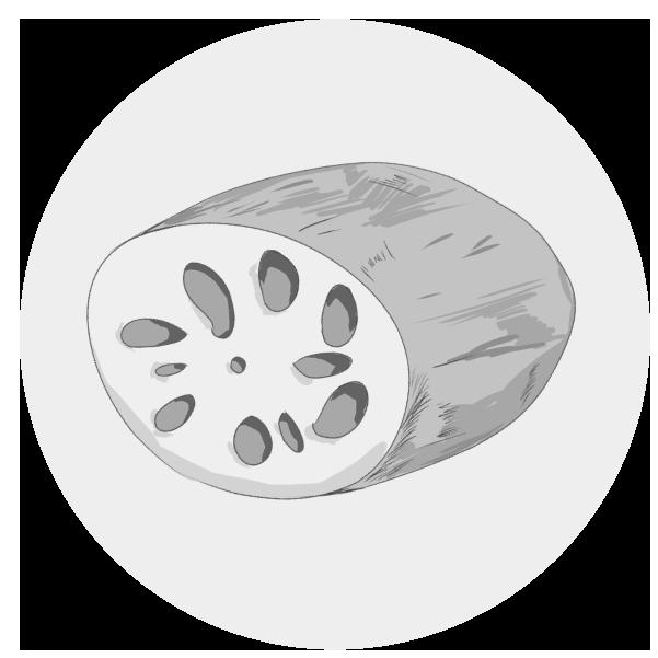 レンコンのイラスト(白黒)