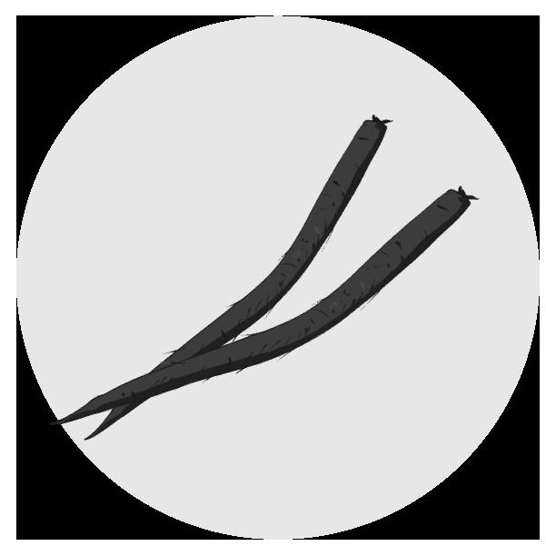 ごぼうのイラスト(白黒)