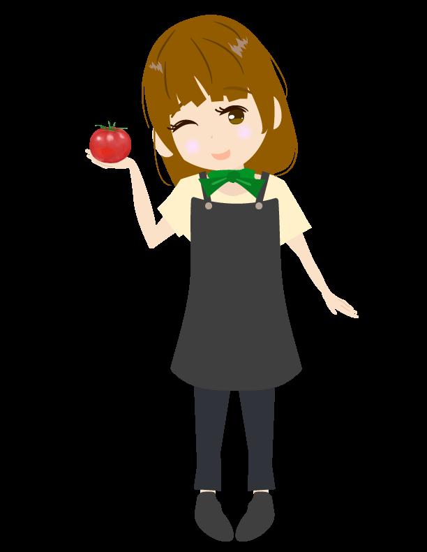 トマトを持つ可愛い野菜ソムリエのイラスト