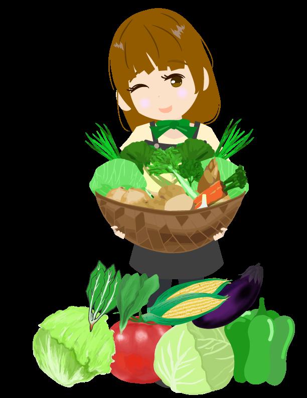 たくさんの野菜と野菜ソムリエのイラスト