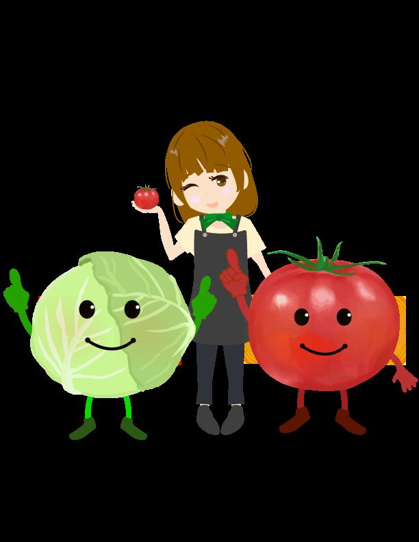 野菜キャラクターと野菜ソムリエのイラスト