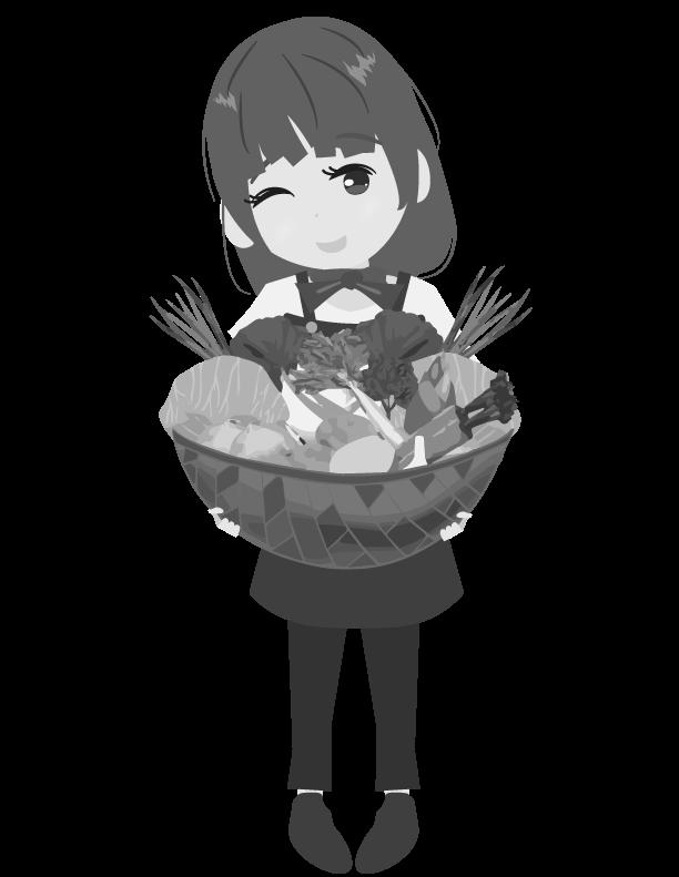 白黒の野菜ソムリエのイラスト
