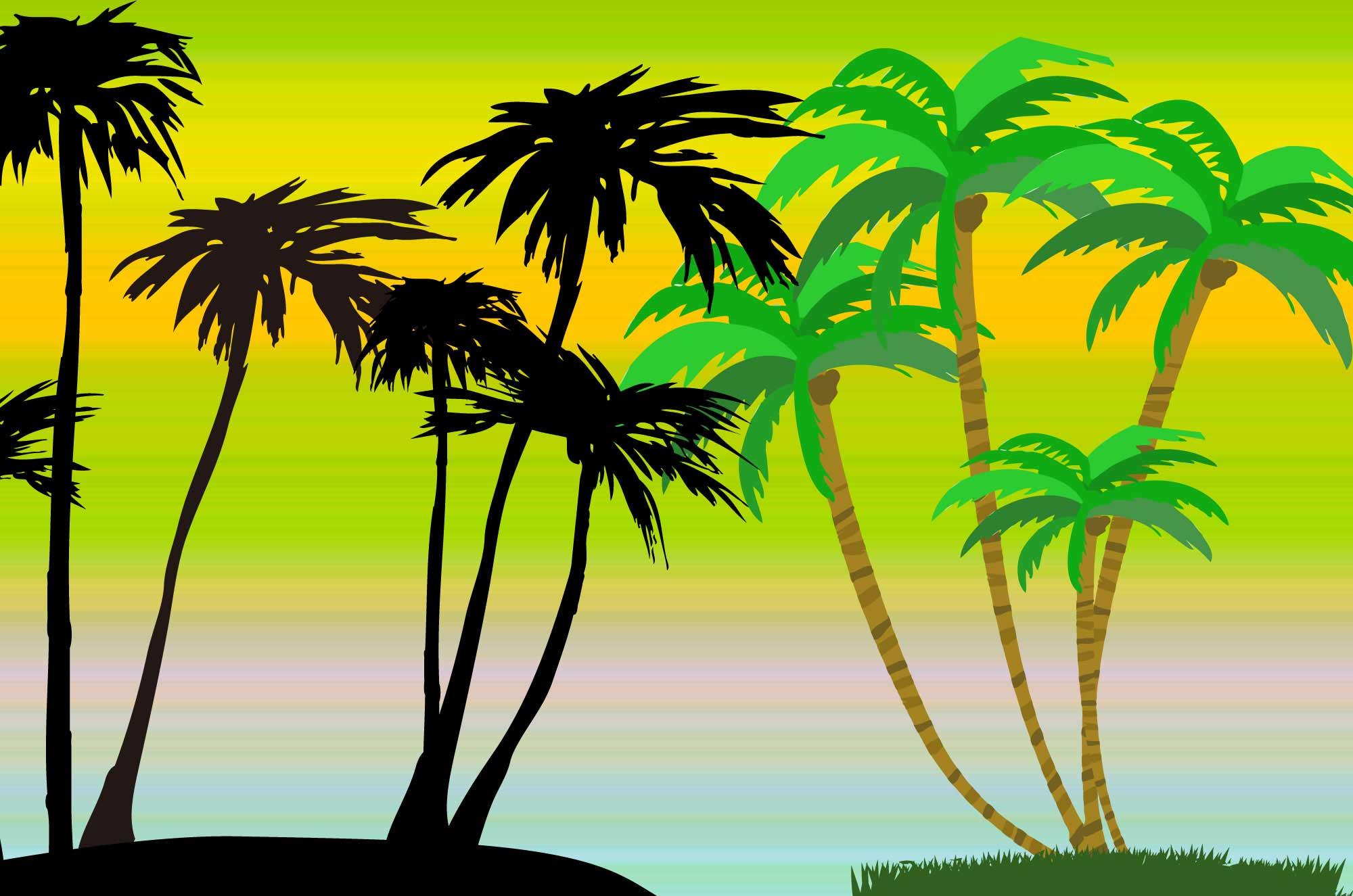 ヤシの木イラスト - 南国の海にぴったりな木の素材