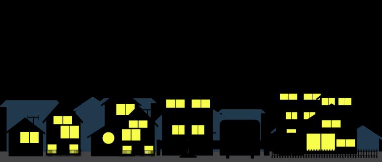 深夜の住宅街のイラスト