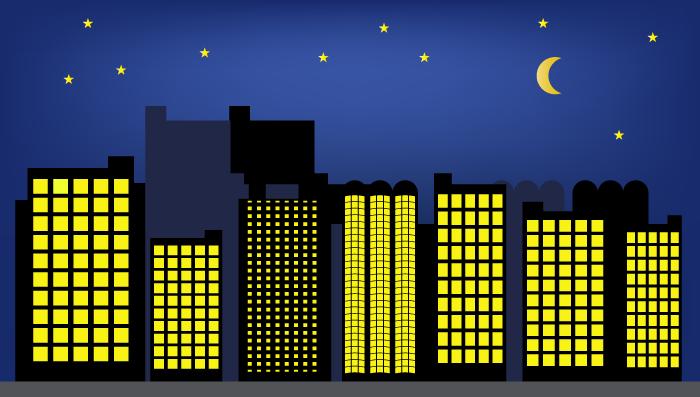 夜の街並み・ビルと星空のイラスト