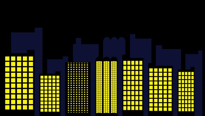 夜の街並み・ビルのシルエットイラスト