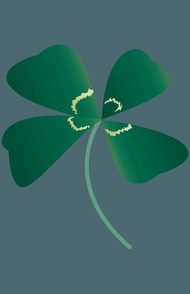 シロツメのリアル四つ葉のクローバーイラスト