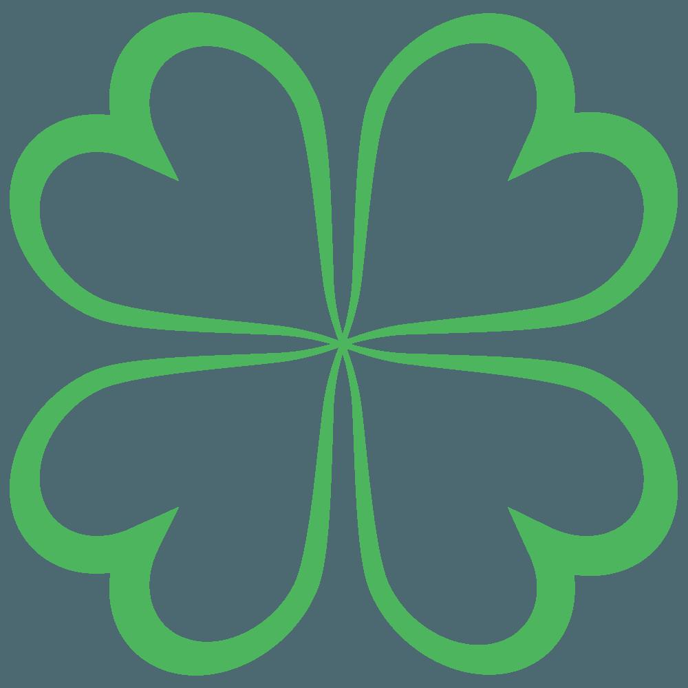 ハート線の四つ葉のクローバーイラスト