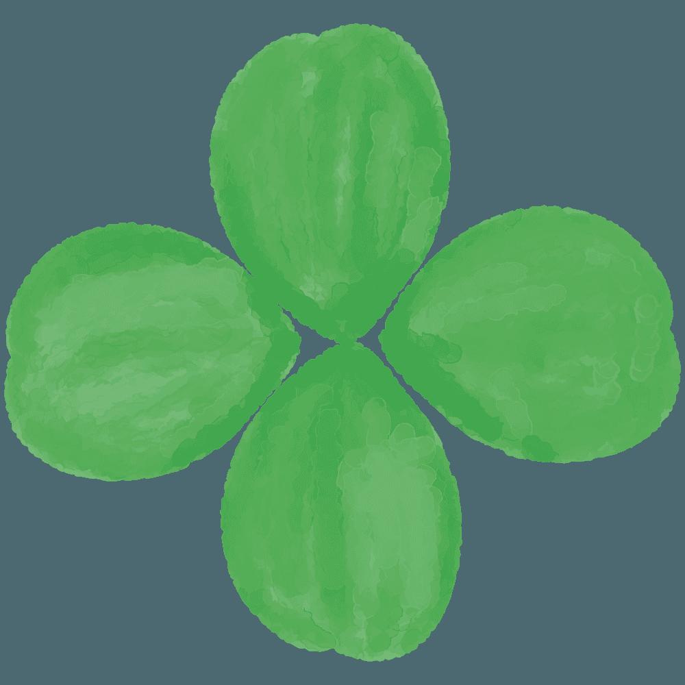 水彩で描いた四つ葉のクローバーイラスト