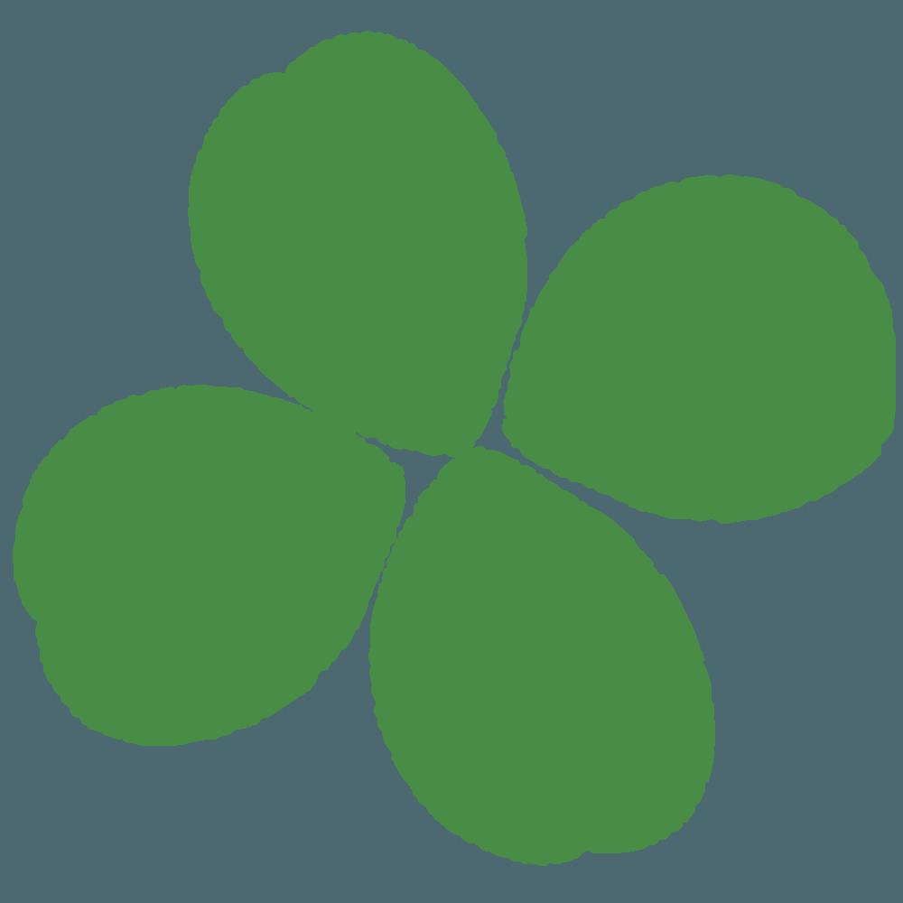 クレヨンで描く四つ葉のクローバーイラスト