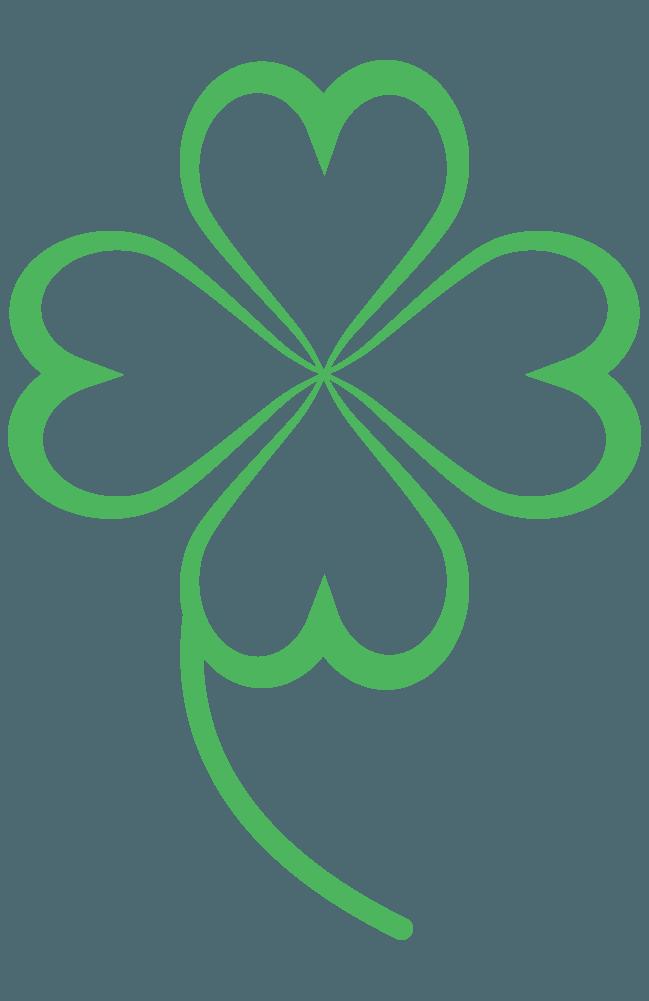 ハートの葉の四つ葉のクローバーイラスト