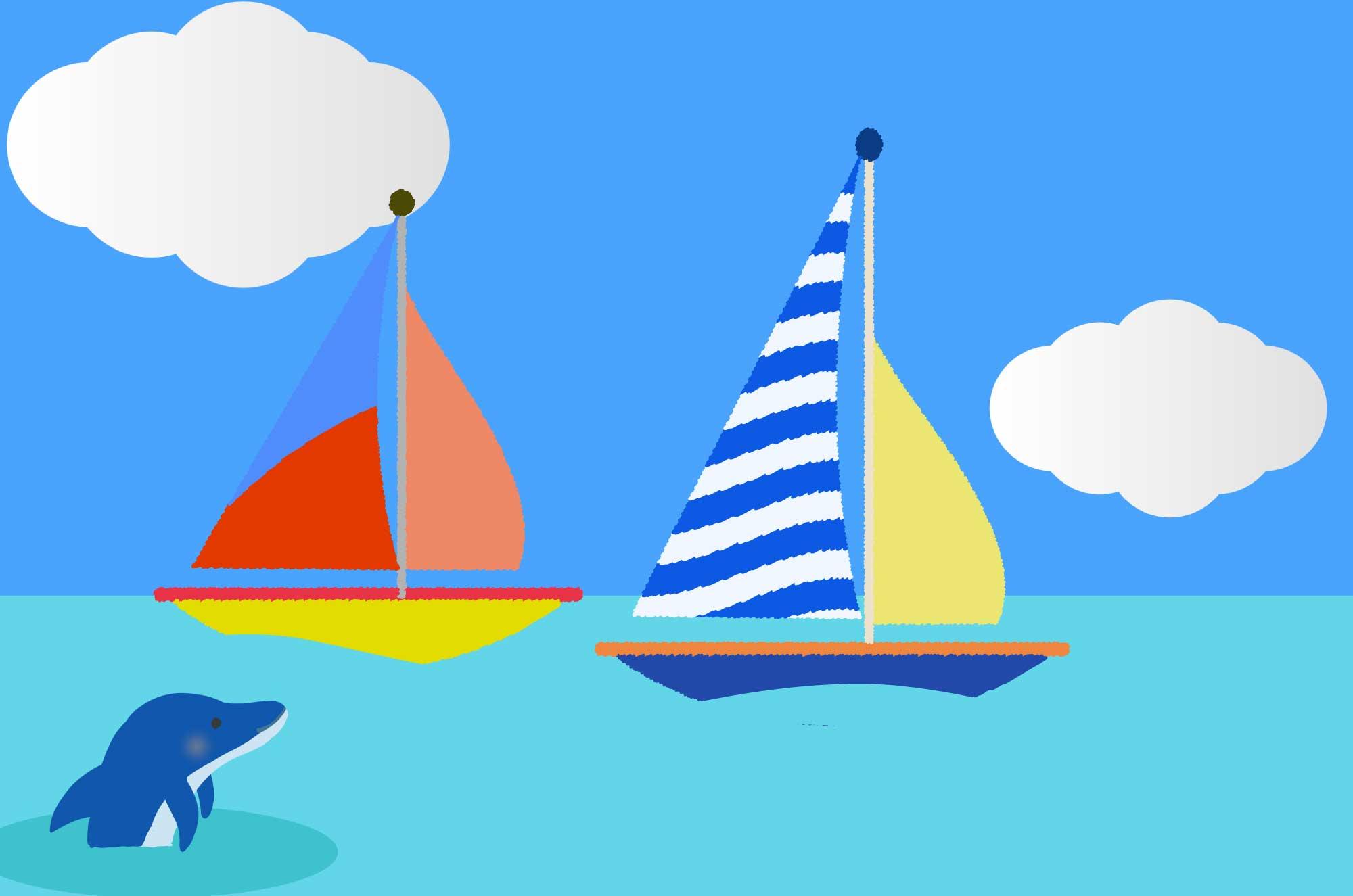 ヨットのイラスト 可愛い海の風景無料素材 チコデザ