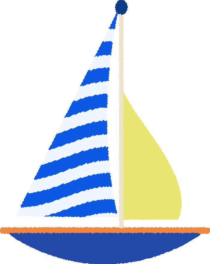 シマシマのヨットのイラスト