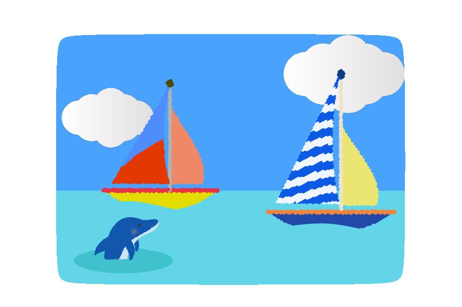 海とヨットとイルカの挿絵