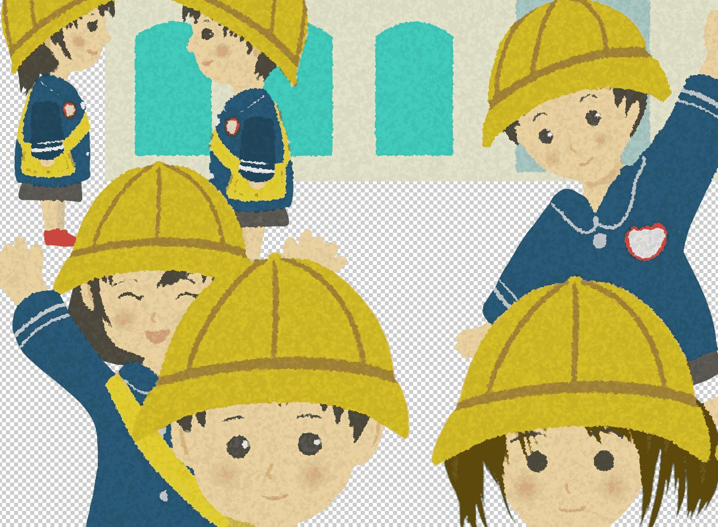 手描き風に調整された幼稚園児のイラスト