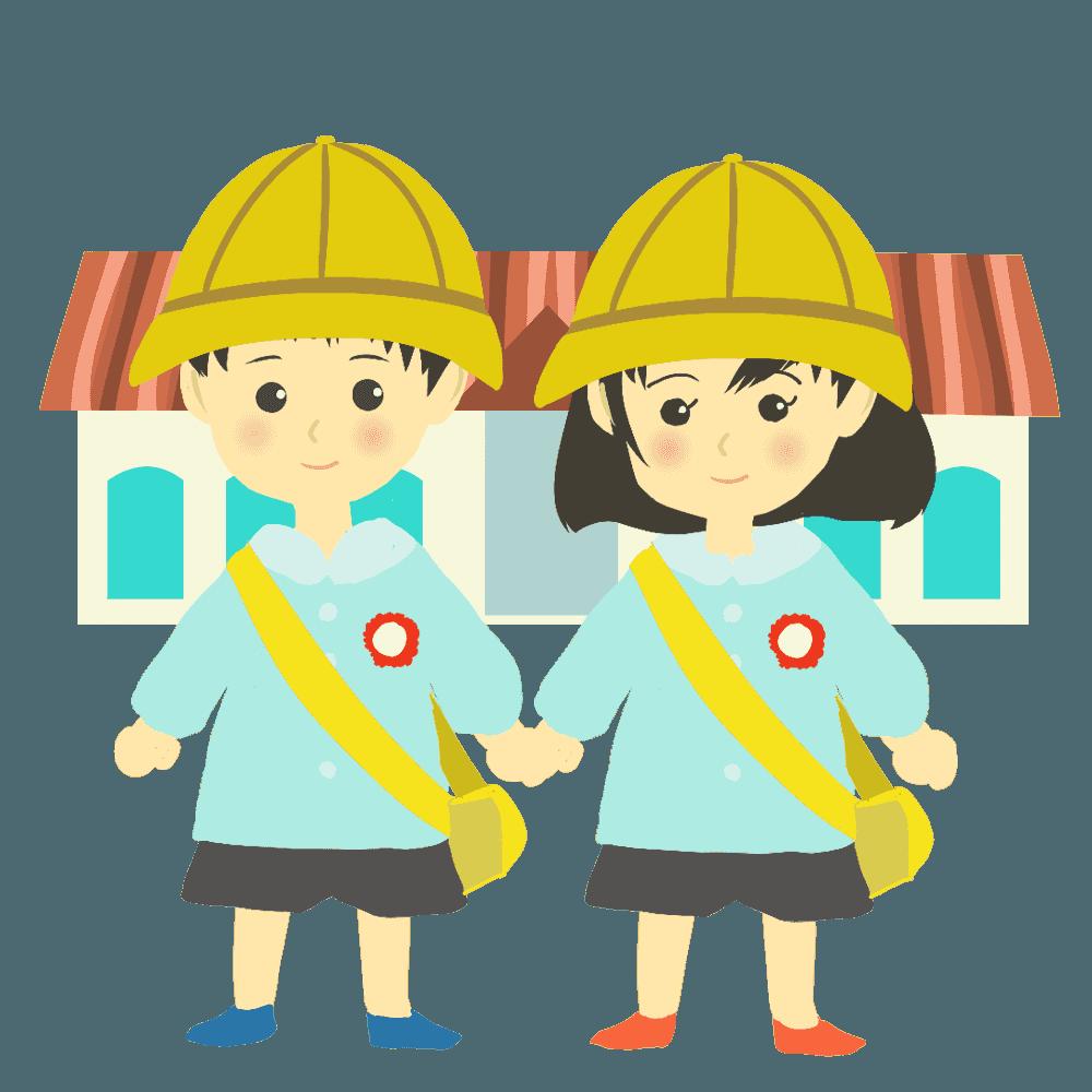 可愛い男の子と女の子の幼稚園児イラスト
