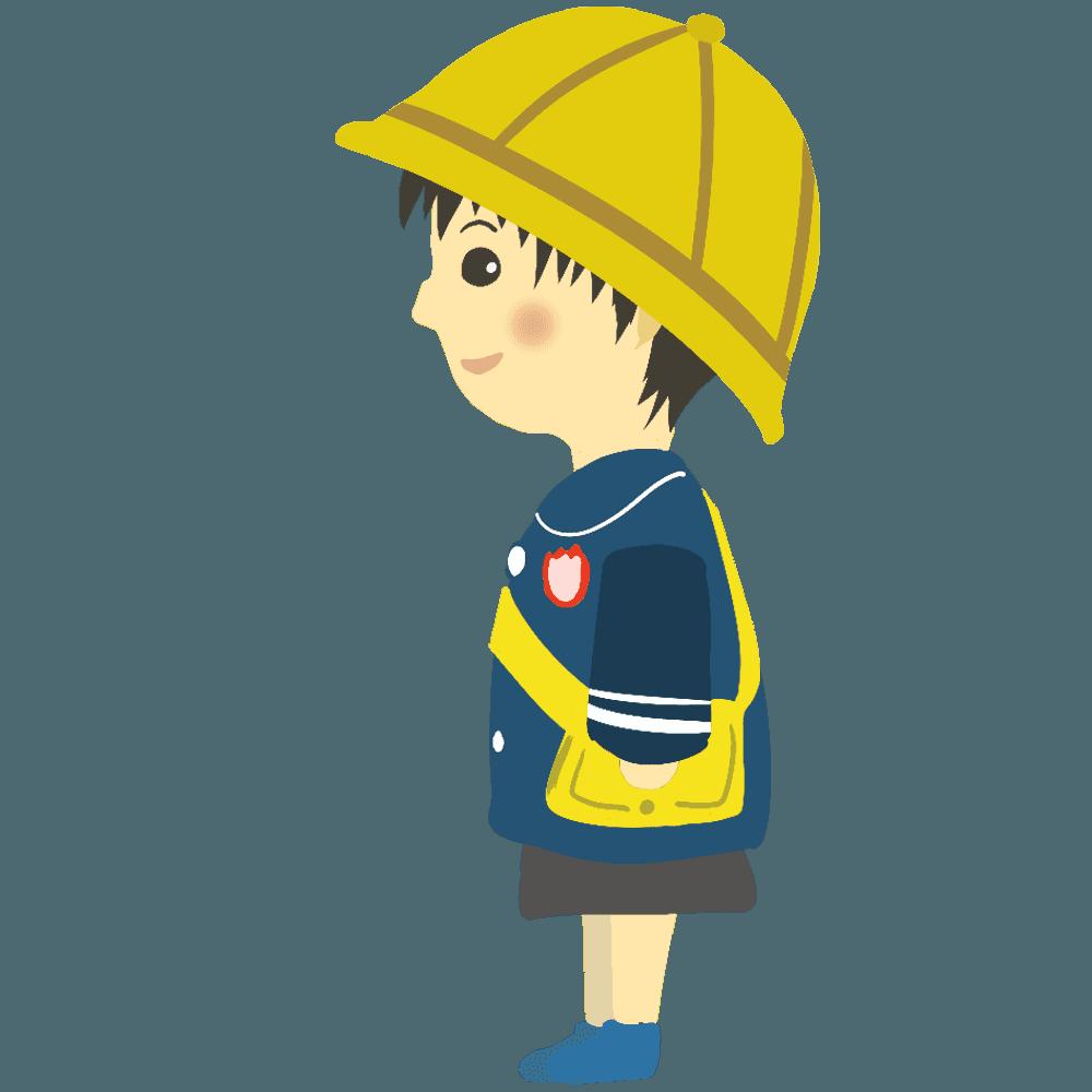 横向きの男の子の幼稚園児イラスト