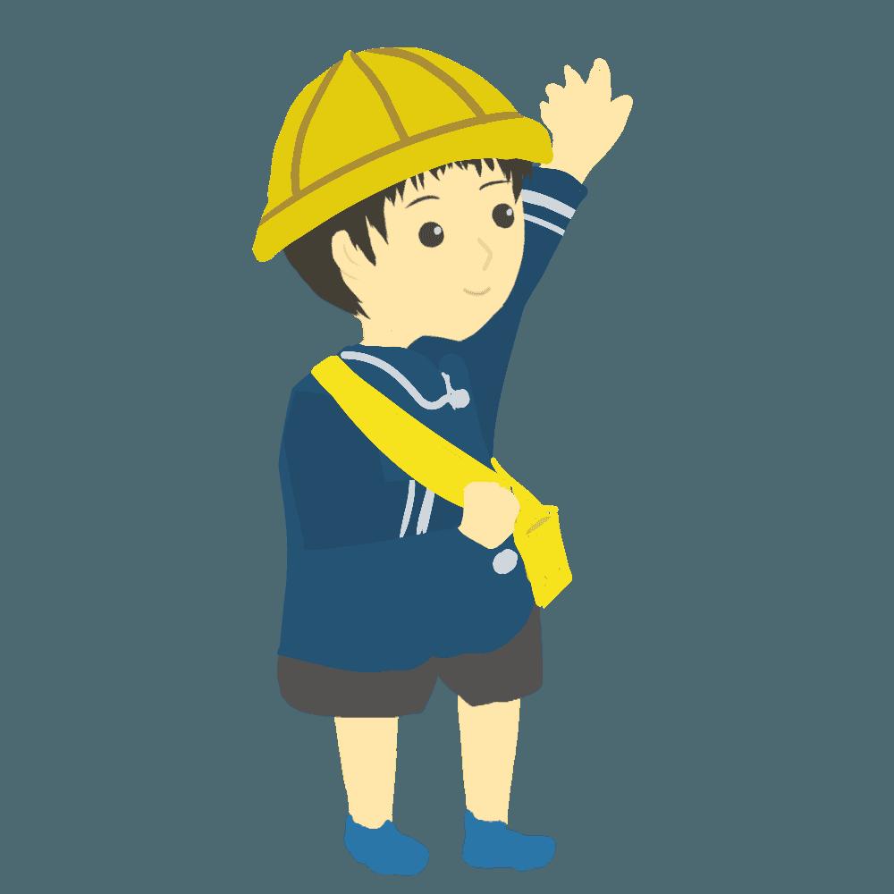 手を挙げる幼稚園児イラスト