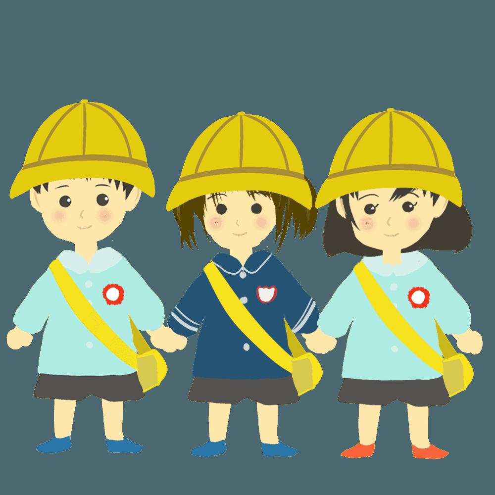 3人の可愛い園児幼稚園児イラスト