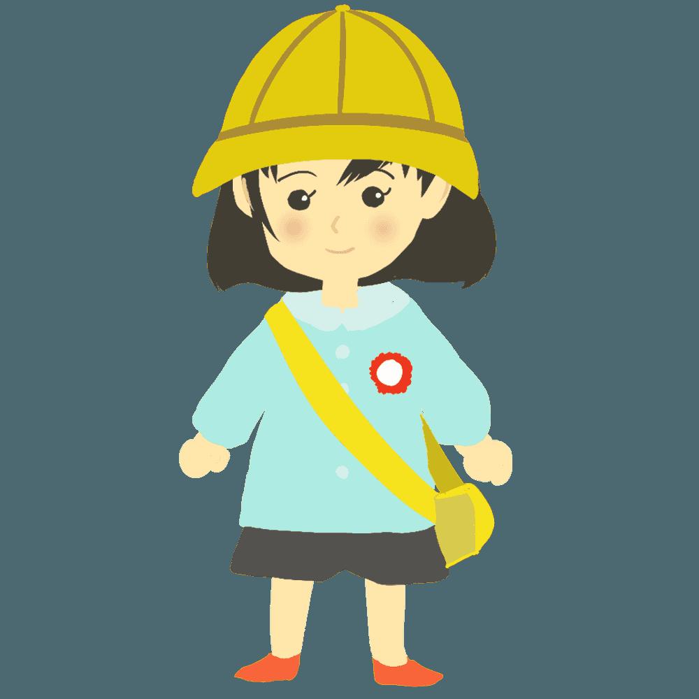 水色の制服を着た女の子の幼稚園児イラスト