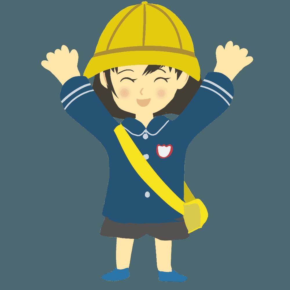バンザイをする女の子の幼稚園児イラスト