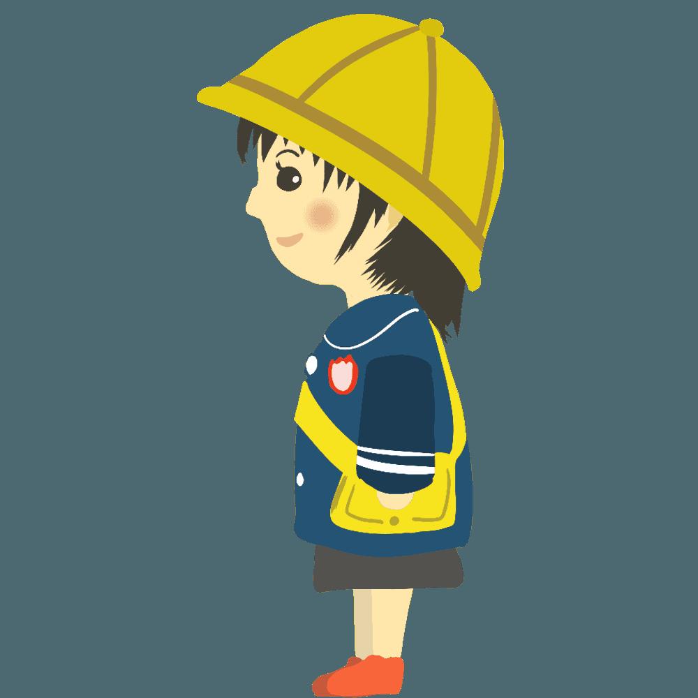 横向きの女の子の幼稚園児イラスト
