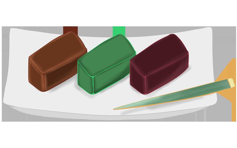 茶色、小豆色、うぐいす色の羊羹のイラスト