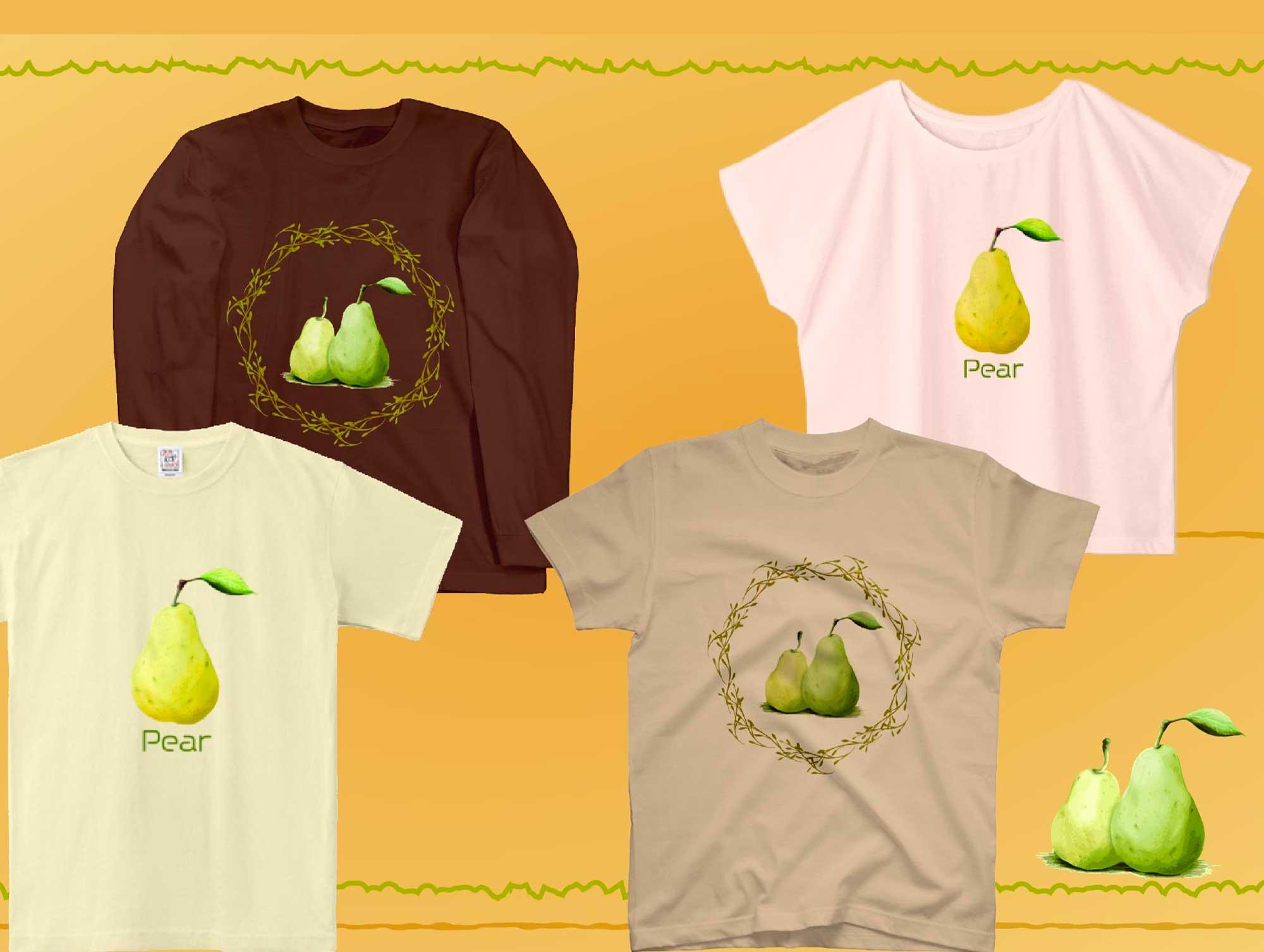 おしゃれな手書きの洋梨フルーツTシャツ