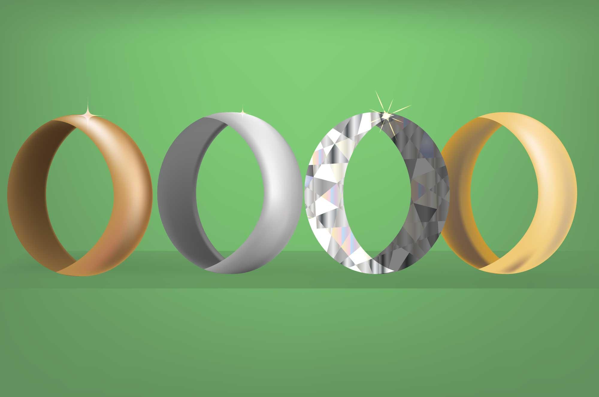 指輪の無料イラスト - ダイヤ・シルバー・ゴールド