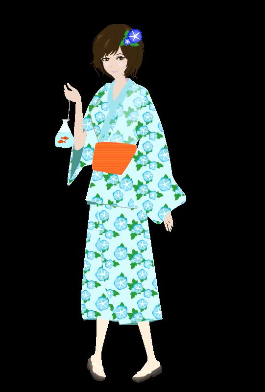 浴衣の女の子(朝顔)のイラスト