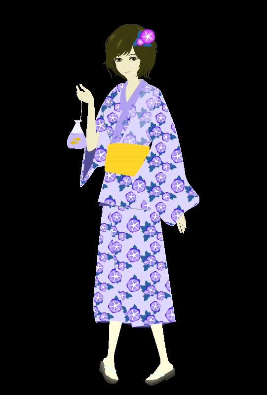 浴衣の女の子(朝顔)のイラスト2