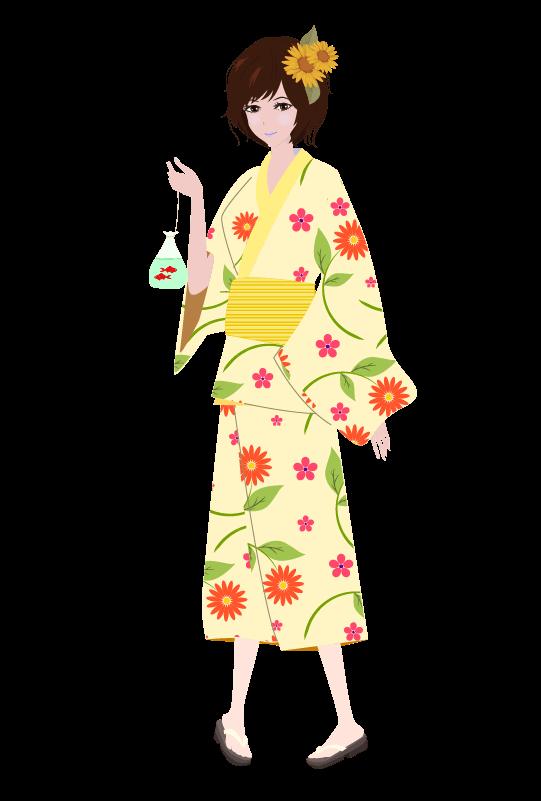浴衣の女の子(ひまわり)のイラスト